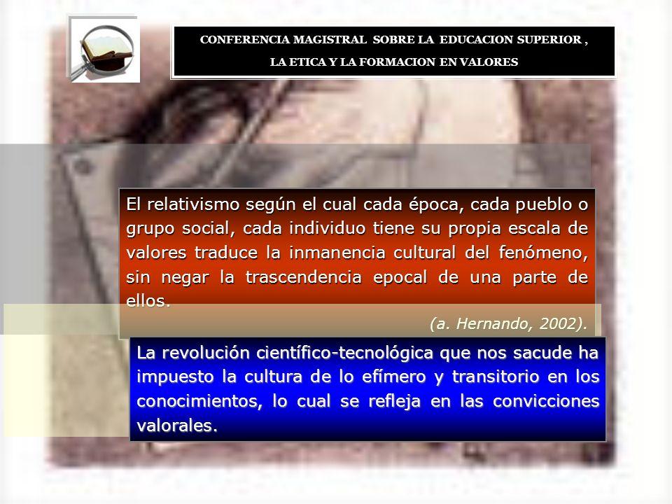 El relativismo según el cual cada época, cada pueblo o grupo social, cada individuo tiene su propia escala de valores traduce la inmanencia cultural d
