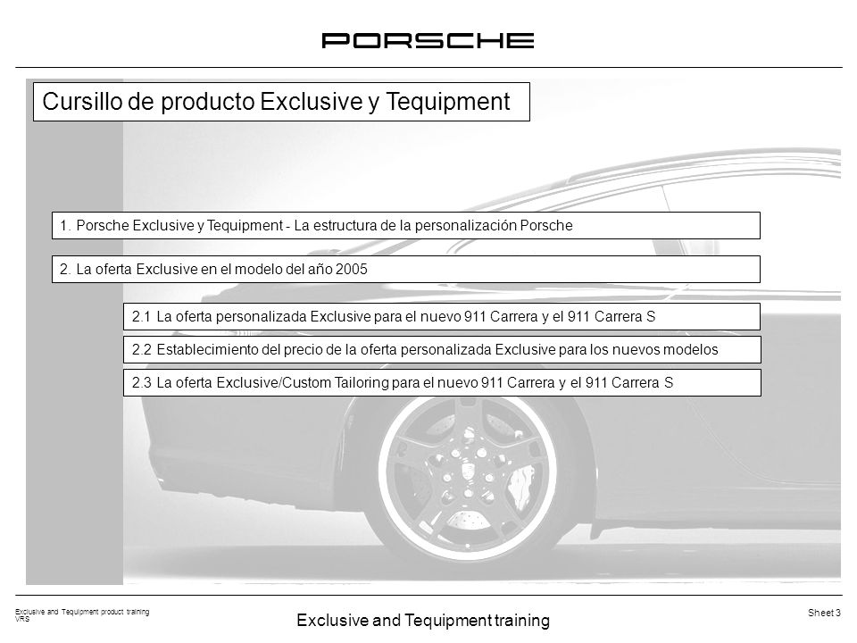 Exclusive and Tequipment training Exclusive and Tequipment product training VRS Sheet 3 Cursillo de producto Exclusive y Tequipment 1. Porsche Exclusi