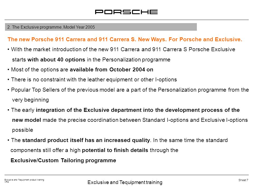 Exclusive and Tequipment training Exclusive and Tequipment product training VRS Sheet 38 Porsche logo in Silver Surround in leather in interior color Personalization programme I-opt.