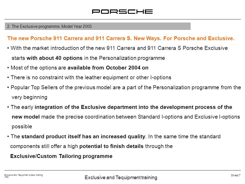 Exclusive and Tequipment training Exclusive and Tequipment product training VRS Sheet 8 El nuevo Porsche 911 Carrera y 911 Carrera S.