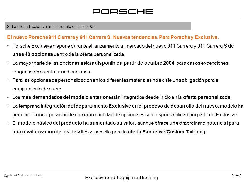 Exclusive and Tequipment training Exclusive and Tequipment product training VRS Sheet 8 El nuevo Porsche 911 Carrera y 911 Carrera S. Nuevas tendencia