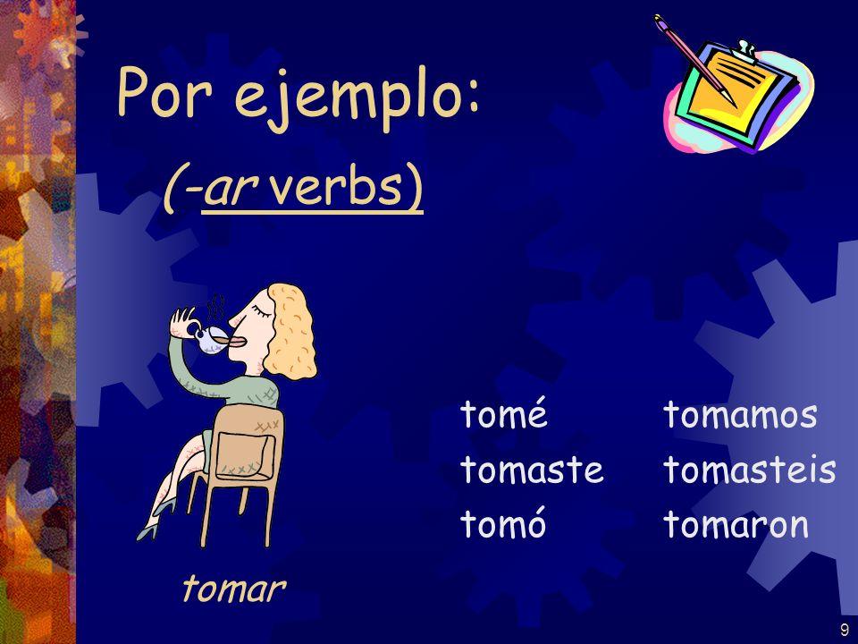 9 (-ar verbs) tomé tomaste tomó tomamos tomasteis tomaron Por ejemplo: tomar