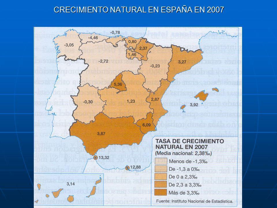 CRECIMIENTO NATURAL EN ESPAÑA EN 2007