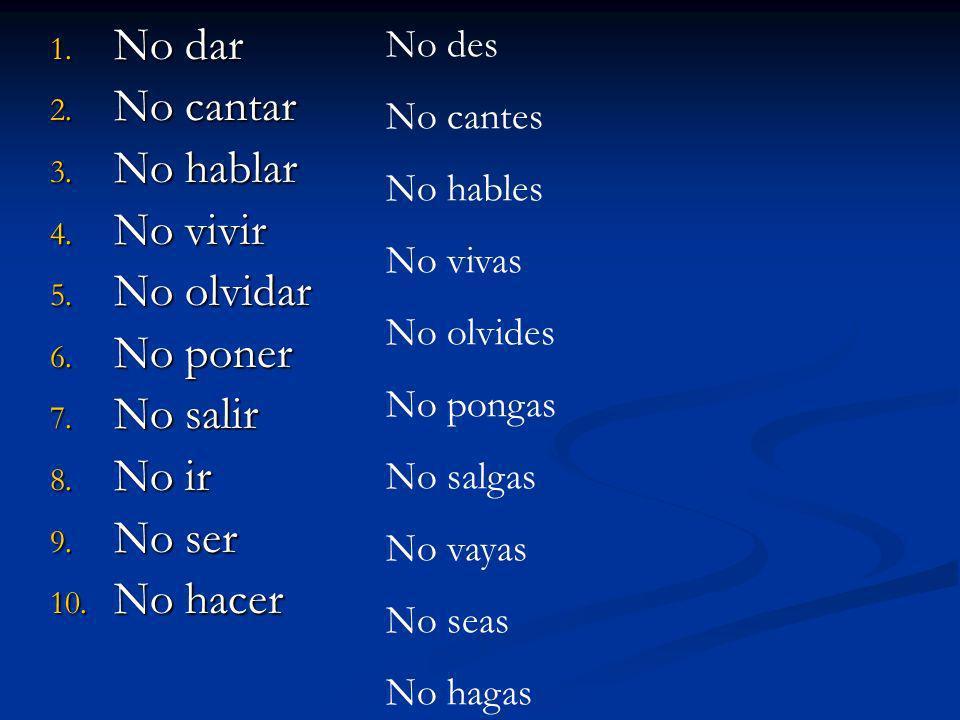 Irregulares - Negativos D I S H E S Dar = no des Ir = no vayas Saber = no sepas Haber = no hayas Estar = no estés Ser = no seas