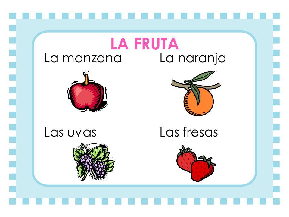 LA FRUTA La manzanaLa naranja Las uvas Las fresas