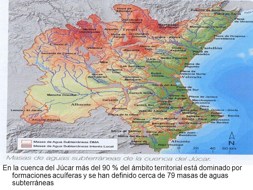 En la cuenca del Júcar más del 90 % del ámbito territorial está dominado por formaciones acuíferas y se han definido cerca de 79 masas de aguas subter