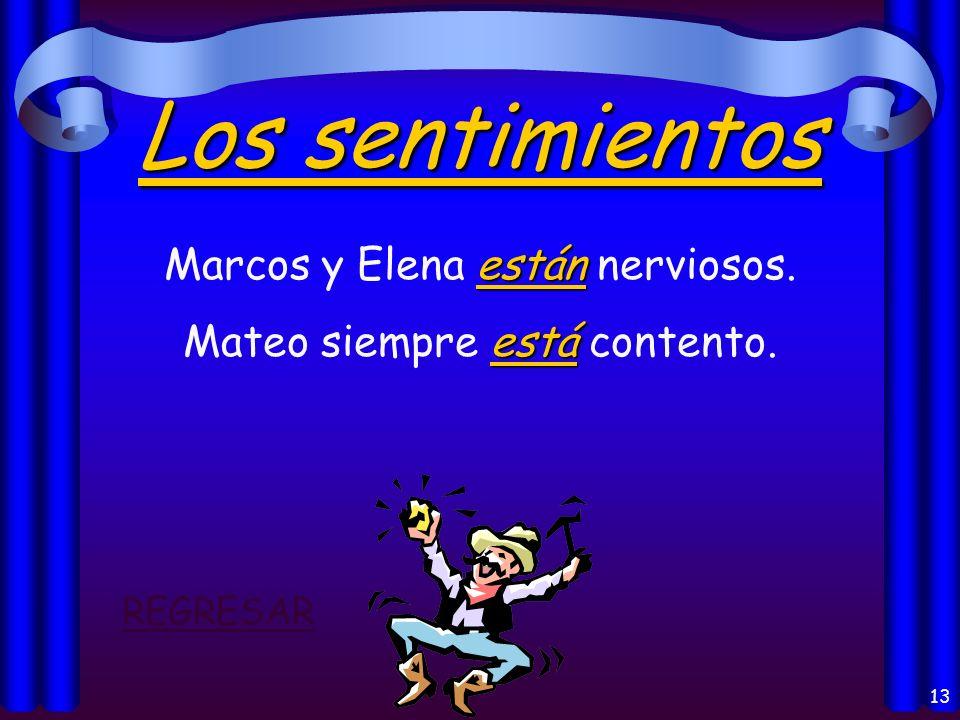 12 La Localización: está Madrid está en España. están Mis libros están en mi casa. estáis ¿Dónde estáis vosotros? REGRESAR