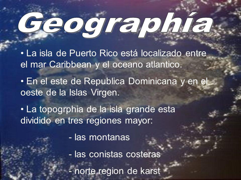 La isla de Puerto Rico está localizado entre el mar Caribbean y el oceano atlantico. En el este de Republica Dominicana y en el oeste de la Islas Virg