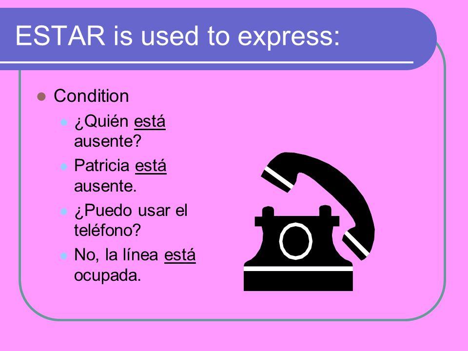 ESTAR is used to express: Condition ¿Quién está ausente.