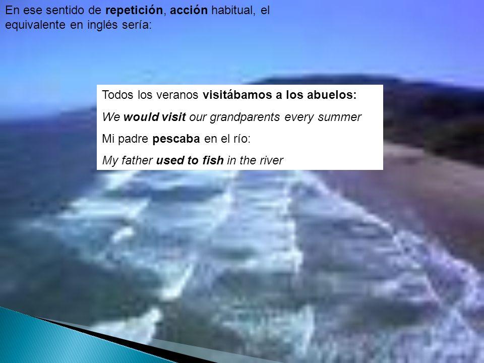 En ese sentido de repetición, acción habitual, el equivalente en inglés sería: Todos los veranos visitábamos a los abuelos: We would visit our grandpa