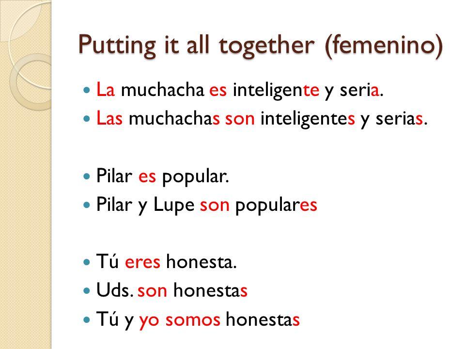 Putting it all together (femenino) La muchacha es inteligente y seria. Las muchachas son inteligentes y serias. Pilar es popular. Pilar y Lupe son pop