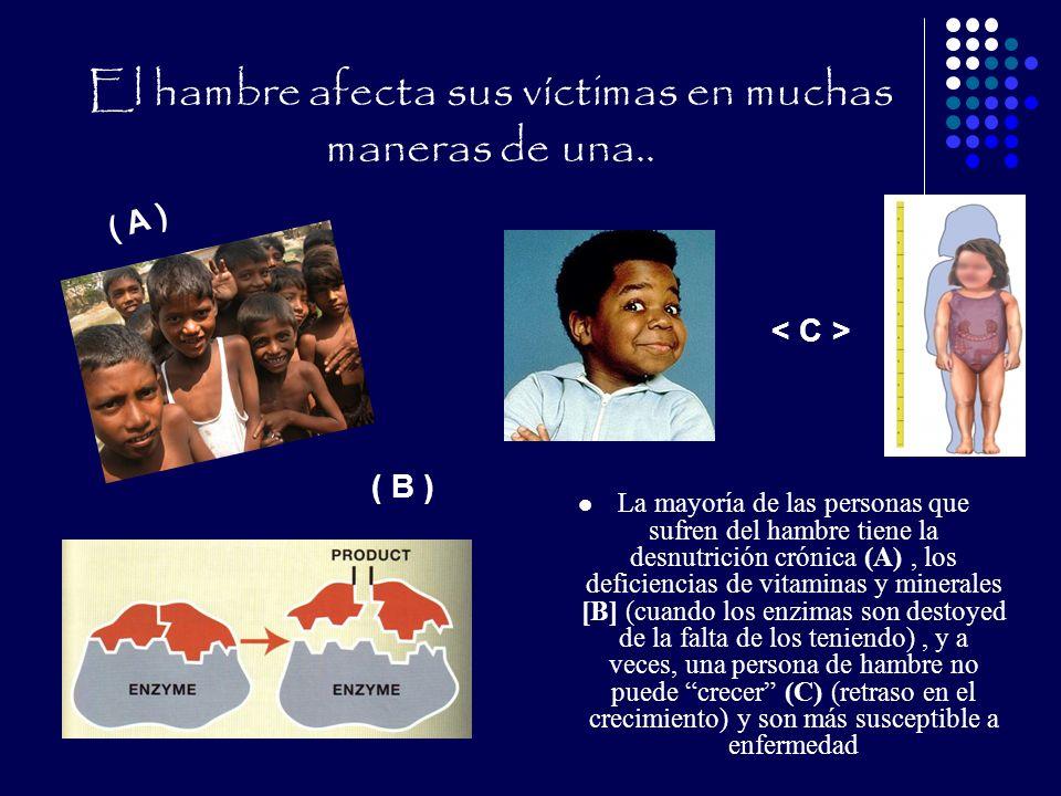 El hambre afecta sus víctimas en muchas maneras de una.. La mayoría de las personas que sufren del hambre tiene la desnutrición crónica (A), los defic