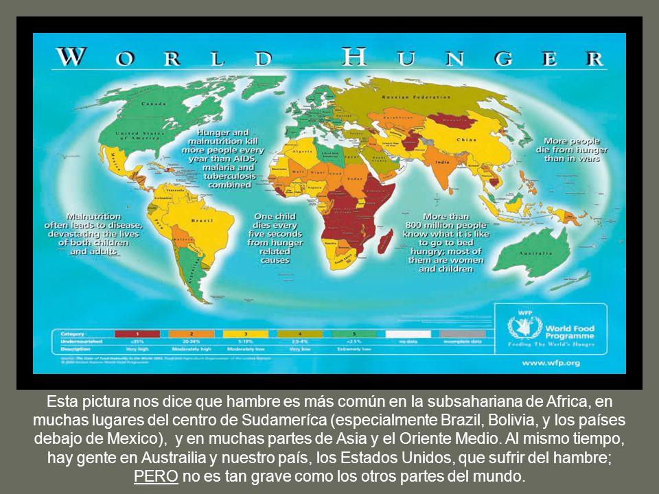 Esta pictura nos dice que hambre es más común en la subsahariana de Africa, en muchas lugares del centro de Sudameríca (especialmente Brazil, Bolivia,