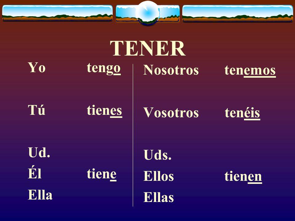 PONER (present) Yopongo Túpones Ud.Élpone Ella Nosotros(as) ponemos Vosotros (as) ponéis Uds.