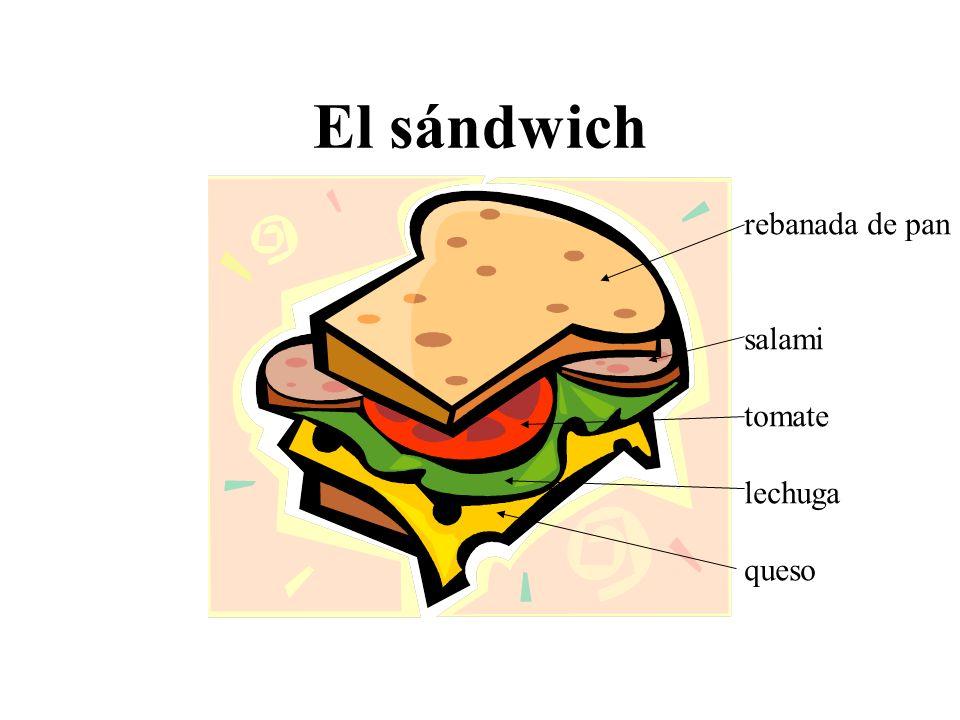 El sándwich rebanada de pan salami tomate lechuga queso