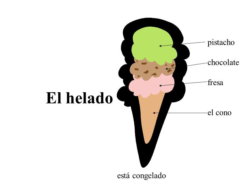 El helado pistacho chocolate fresa el cono está congelado