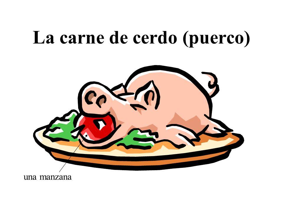 La carne de cerdo (puerco) una manzana