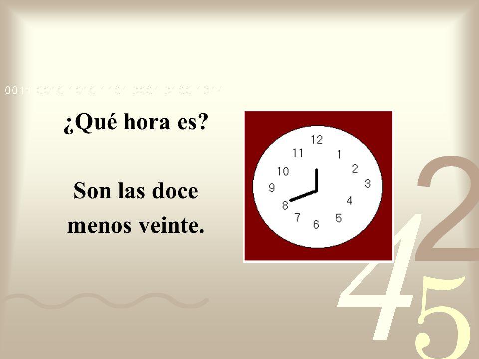 ¿Qué hora es? Son las doce menos diez.