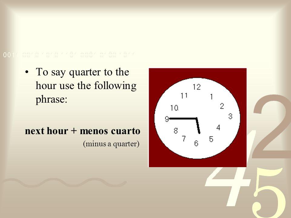¿Qué hora es? Son las nueve y media.