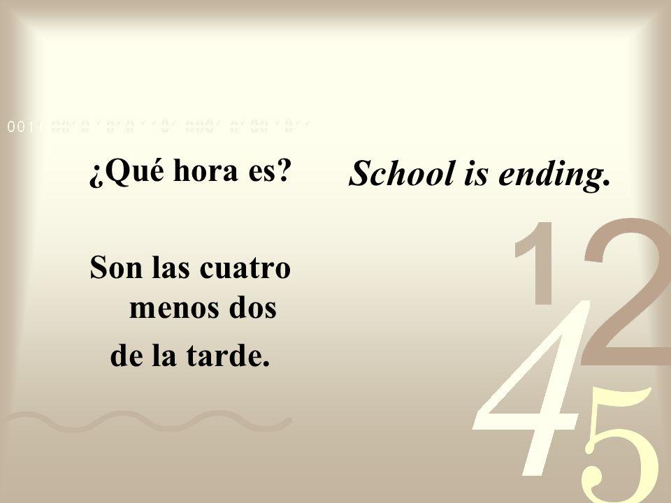 ¿Qué hora es? Son las dos menos menos veintinueve de la tarde. Period 4 is beginning.