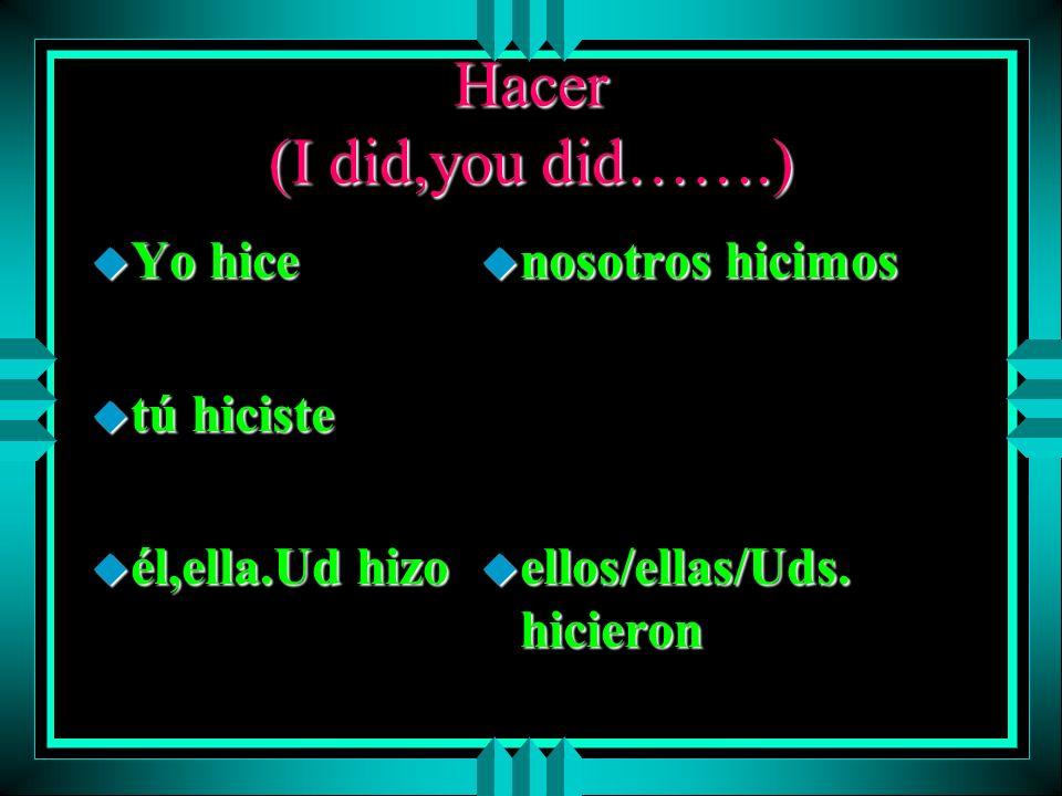 IR (I went, you went…) u yo fui u tú fuiste u él/ella/Ud. fue u nosotros fuimos u ellos/ellas/Uds. fueron