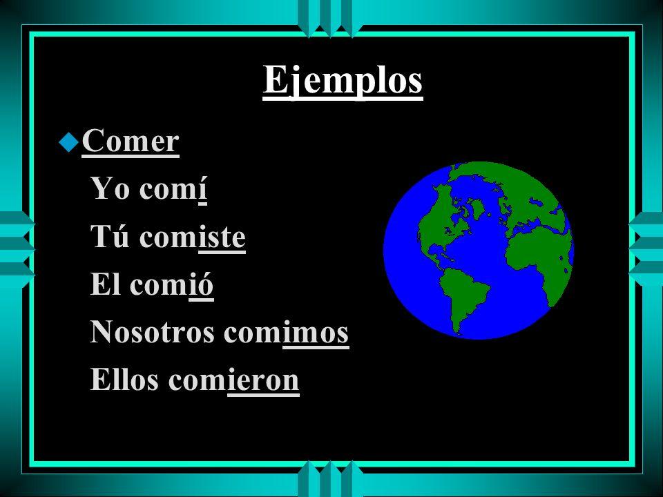 Ejemplos u Hablar yo hablé tú hablaste él/ella/Ud. habló nosotros hablamos ellos/ellas/Uds. hablaron