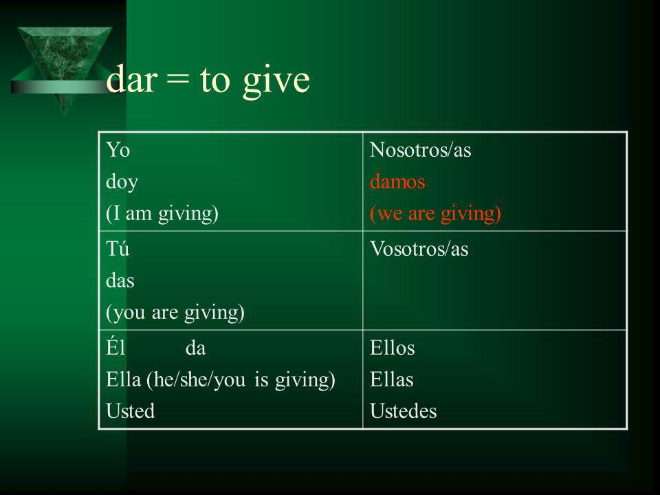 dar = to give Yo doy (I am giving) Nosotros/as damos (we are giving) Tú das (you are giving) Vosotros/as dais (you [all] are giving) Él da Ella (he/she/you is giving) Usted Ellos Ellas Ustedes