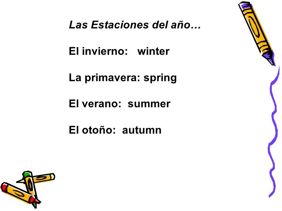 Las Estaciones del año… El invierno: winter La primavera: spring El verano: summer El otoño: autumn
