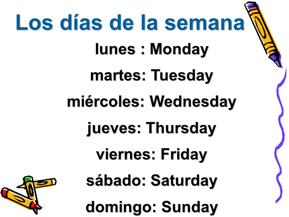 Los días de la semana lunes : Monday martes: Tuesday miércoles: Wednesday jueves: Thursday viernes: Friday sábado: Saturday domingo: Sunday