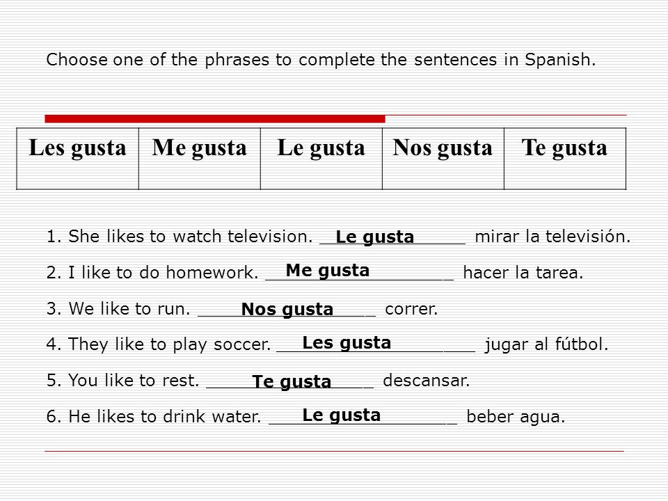Choose one of the phrases to complete the sentences in Spanish. Les gustaMe gustaLe gustaNos gustaTe gusta 1. She likes to watch television. _________
