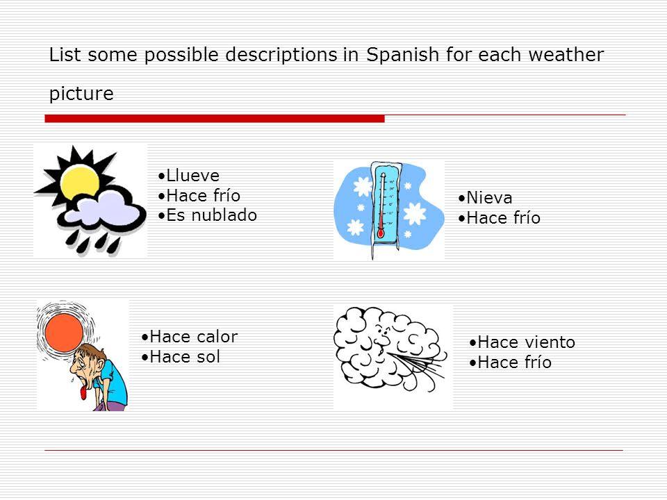 List some possible descriptions in Spanish for each weather picture Llueve Hace frío Es nublado Nieva Hace frío Hace calor Hace sol Hace viento Hace f