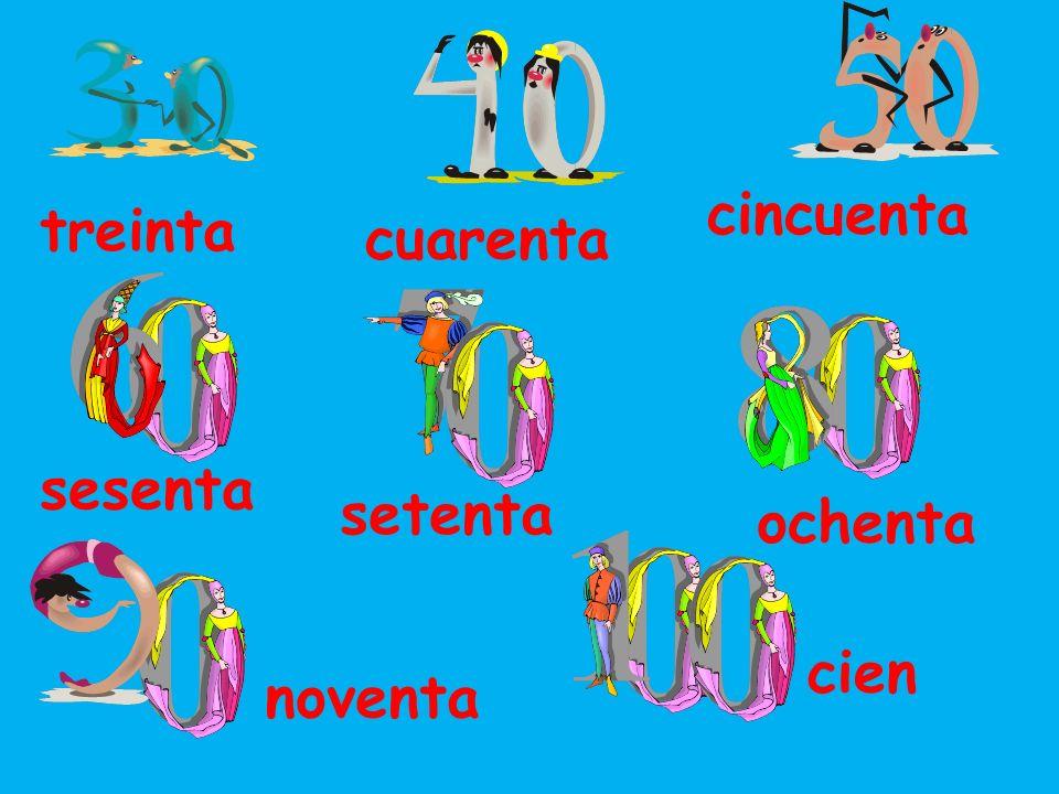 cuarenta cincuenta sesenta ochenta setenta noventa cien