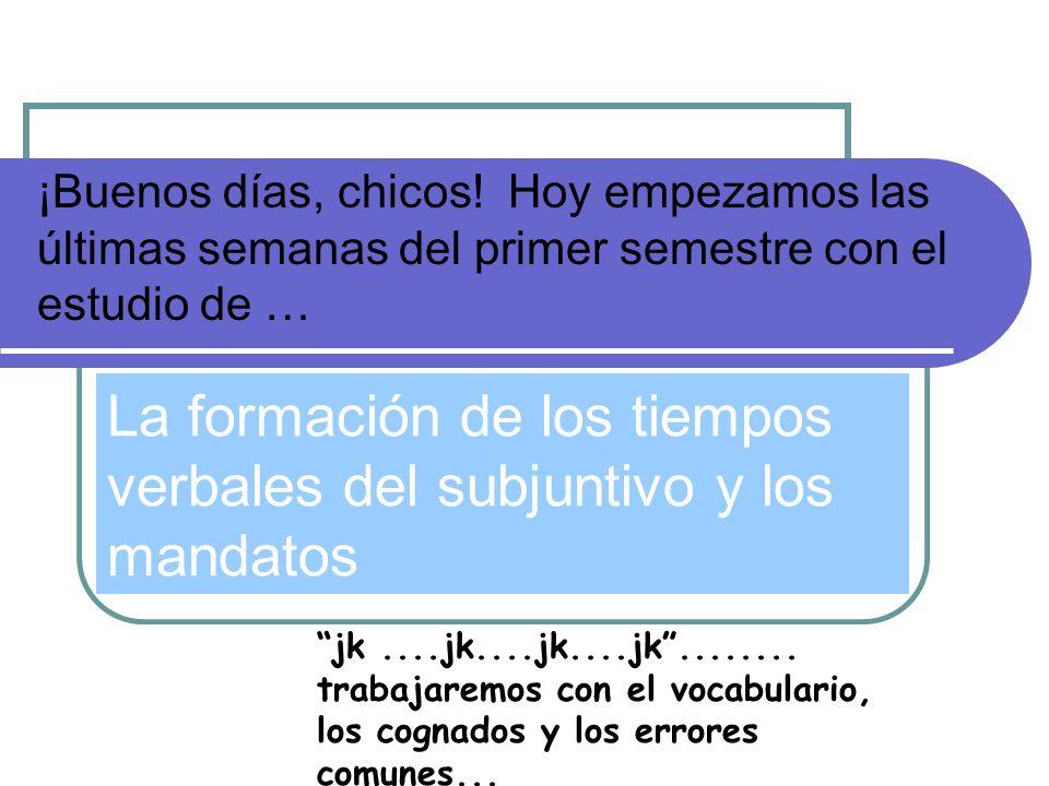 ¡Buenos días, chicos! Hoy empezamos las últimas semanas del primer semestre con el estudio de … La formación de los tiempos verbales del subjuntivo y