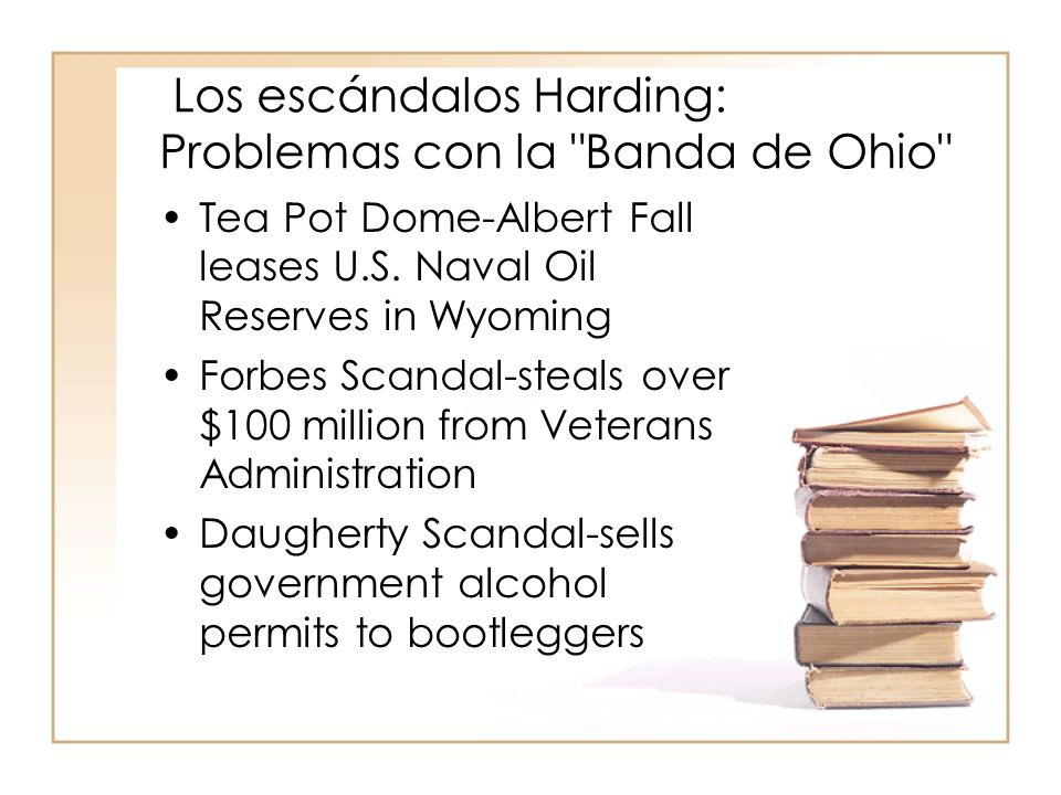Los escándalos Harding: Problemas con la Banda de Ohio Tea Pot Dome-Albert Fall leases U.S.