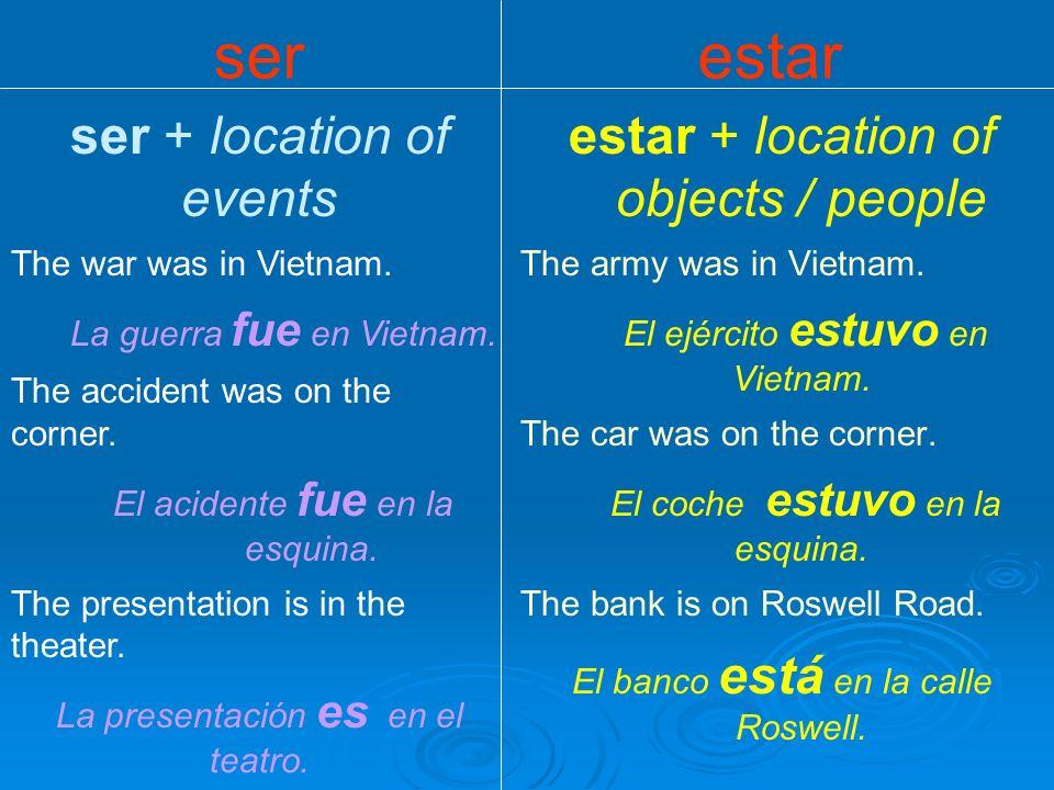 ser estar ser + adjective = essence Anita is intelligent. Anita es inteligente. The river is long. El río es largo. Lorenzo is good/bad. (personality)
