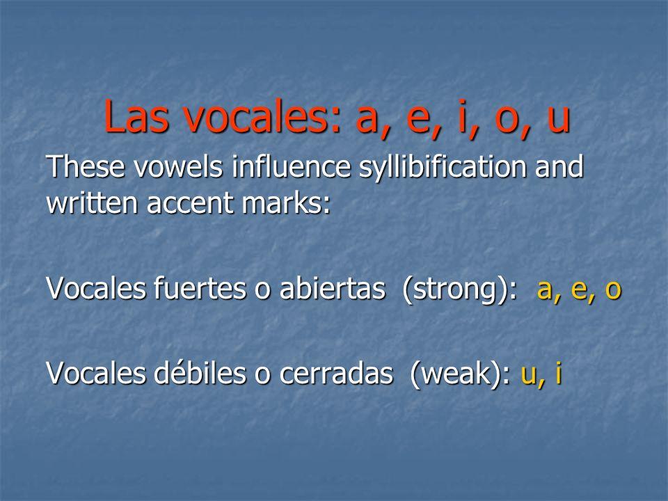 Definiciones: Sílaba: la división fonética de una palabra; siempre contiene por lo menos una vocal Hiato:dos vocales juntas que se pronuncian en sílabas distintas Diptongo:dos vocales juntas que se pronuncian en una sola sílaba; la combinación de dos vocales débiles, o una débil y otra fuerte Triptongo:conjunto de tres vocales que forman una sola sílaba.