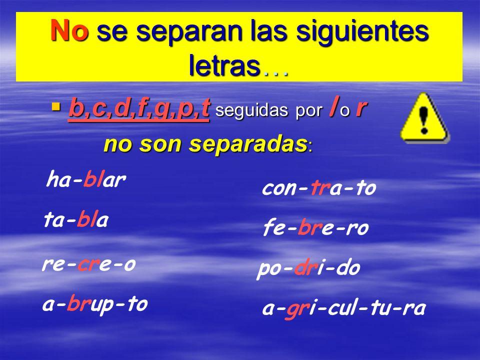 No se separan las siguientes letras… b,c,d,f,g,p,t seguidas por l o r b,c,d,f,g,p,t seguidas por l o r no son separadas : ha-blar ta-bla re-cre-o a-br