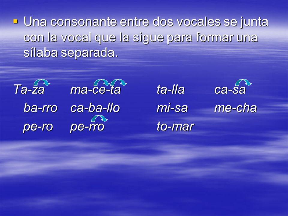 Con 3 consonantes o más juntas, las primeras dos se juntan con la vocal anterior, y la tercera consonante se junta con la vocal que la sigue: Con 3 consonantes o más juntas, las primeras dos se juntan con la vocal anterior, y la tercera consonante se junta con la vocal que la sigue: Ins-ti-tu-toins-pi-ra-ción Com-pren-derSas-tre ¡OjO!