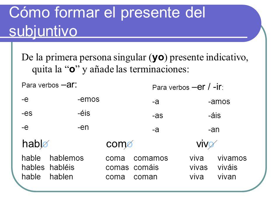 Los tiempos del modo subjuntivo 2 tiempos simples: El presente El imperfecto 2 tiempos compuestos: El presente perfecto El pluscuamperfecto