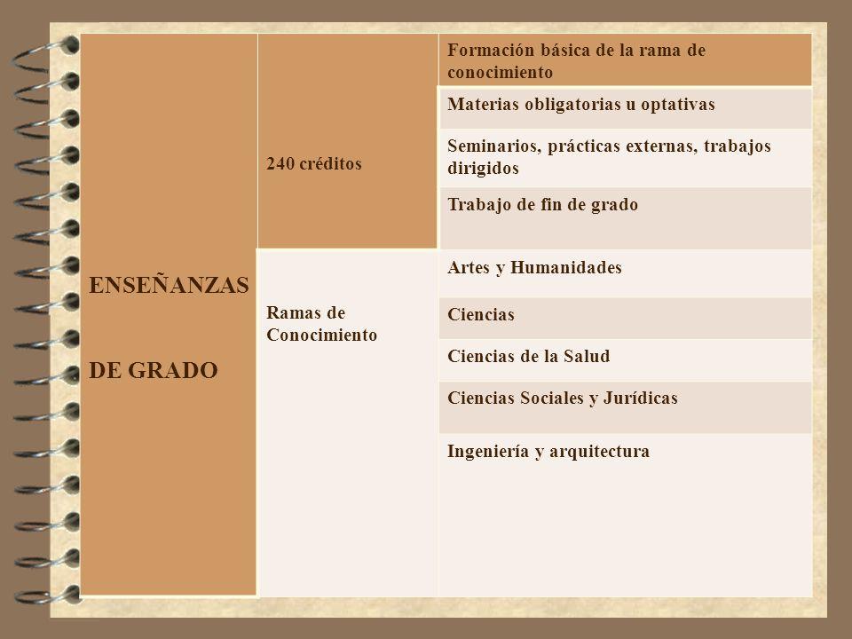 ENSEÑANZAS DE GRADO 240 créditos Formación básica de la rama de conocimiento Materias obligatorias u optativas Seminarios, prácticas externas, trabajo