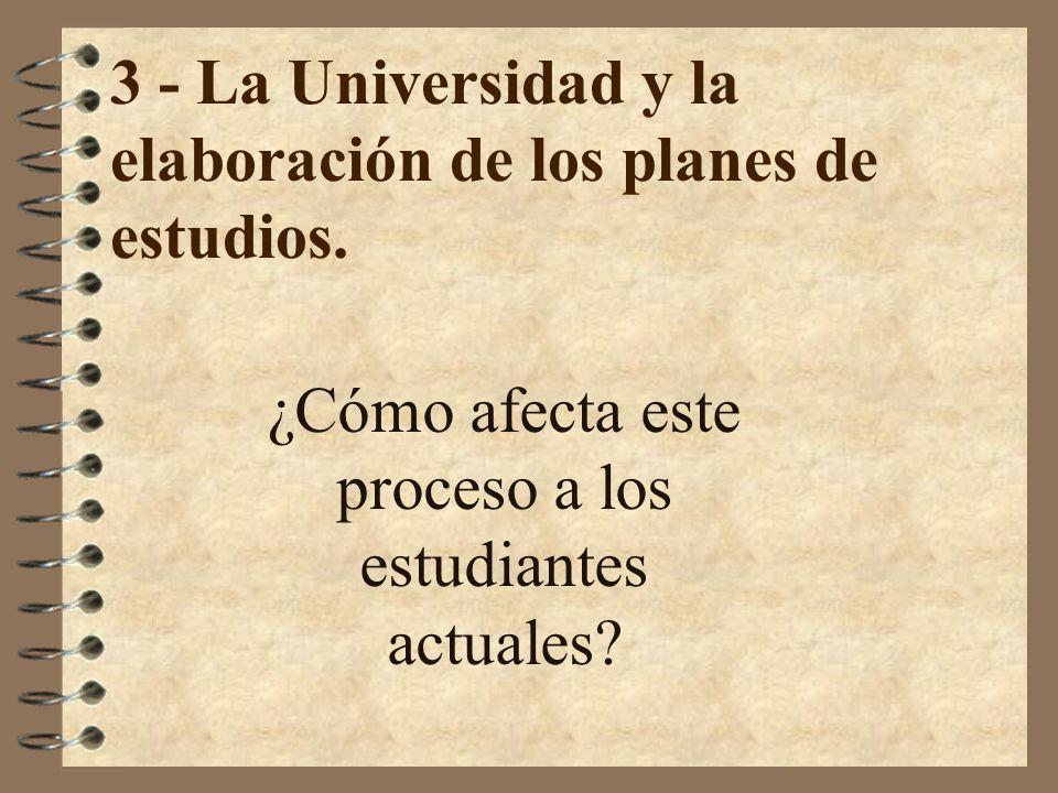 3 - La Universidad y la elaboración de los planes de estudios. ¿Cómo afecta este proceso a los estudiantes actuales?