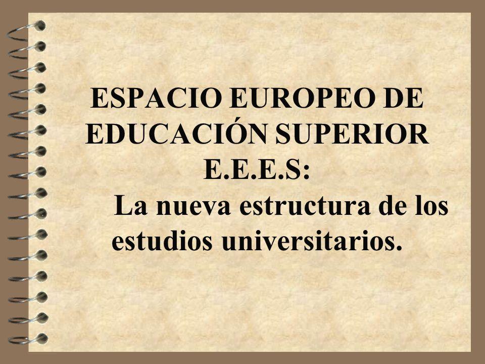 ESPACIO EUROPEO DE EDUCACIÓN SUPERIOR E.E.E.S: La nueva estructura de los estudios universitarios.