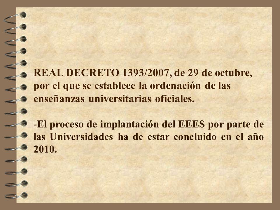 REAL DECRETO 1393/2007, de 29 de octubre, por el que se establece la ordenación de las enseñanzas universitarias oficiales. -El proceso de implantació