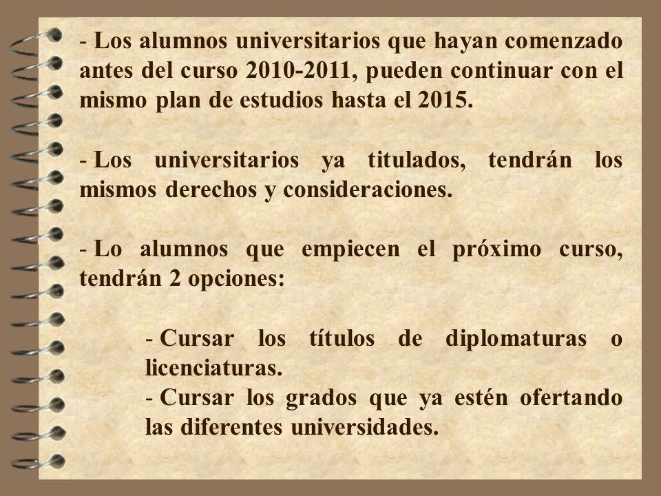 - Los alumnos universitarios que hayan comenzado antes del curso 2010-2011, pueden continuar con el mismo plan de estudios hasta el 2015. - Los univer