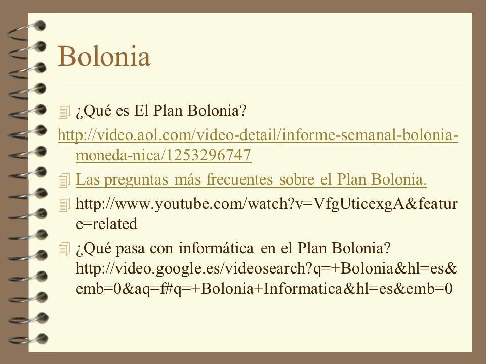 Bolonia 4 ¿Qué es El Plan Bolonia? http://video.aol.com/video-detail/informe-semanal-bolonia- moneda-nica/1253296747 4 Las preguntas más frecuentes so
