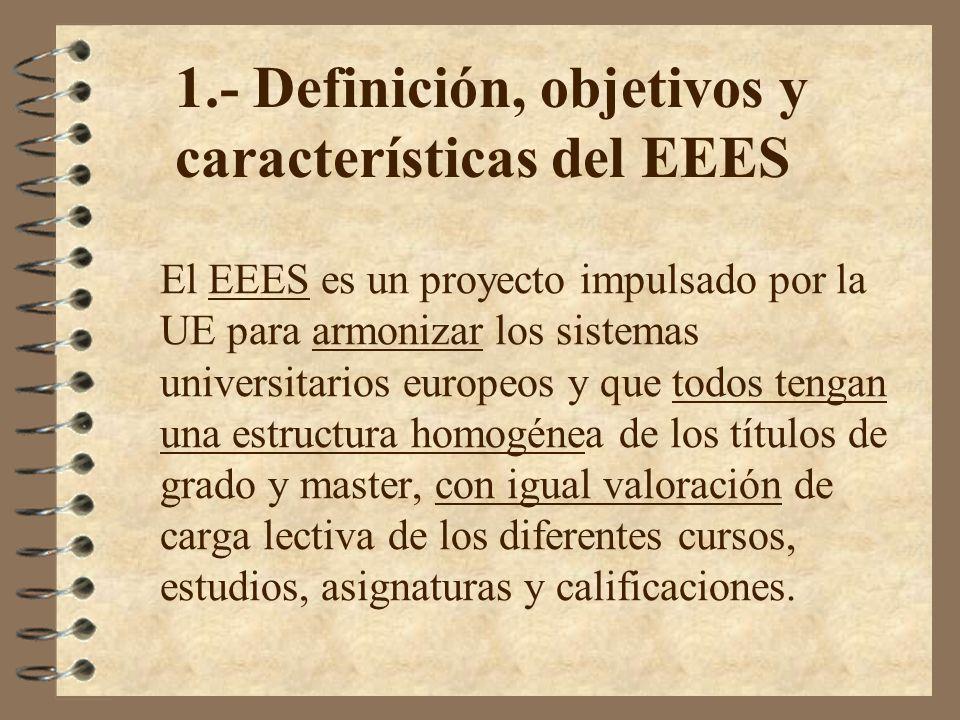 El EEES es un proyecto impulsado por la UE para armonizar los sistemas universitarios europeos y que todos tengan una estructura homogénea de los títu