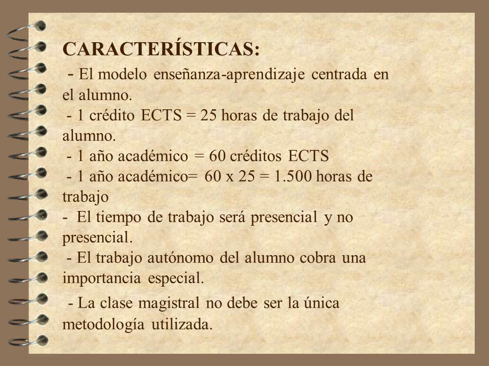 CARACTERÍSTICAS: - El modelo enseñanza-aprendizaje centrada en el alumno. - 1 crédito ECTS = 25 horas de trabajo del alumno. - 1 año académico = 60 cr