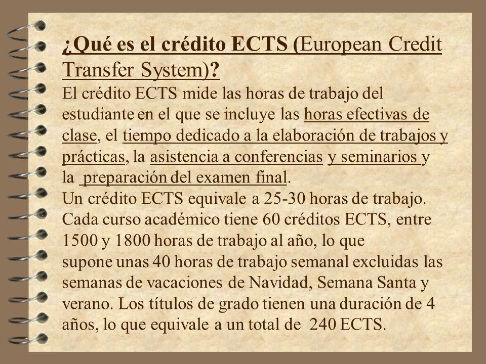 ¿Qué es el crédito ECTS (European Credit Transfer System)? El crédito ECTS mide las horas de trabajo del estudiante en el que se incluye las horas efe