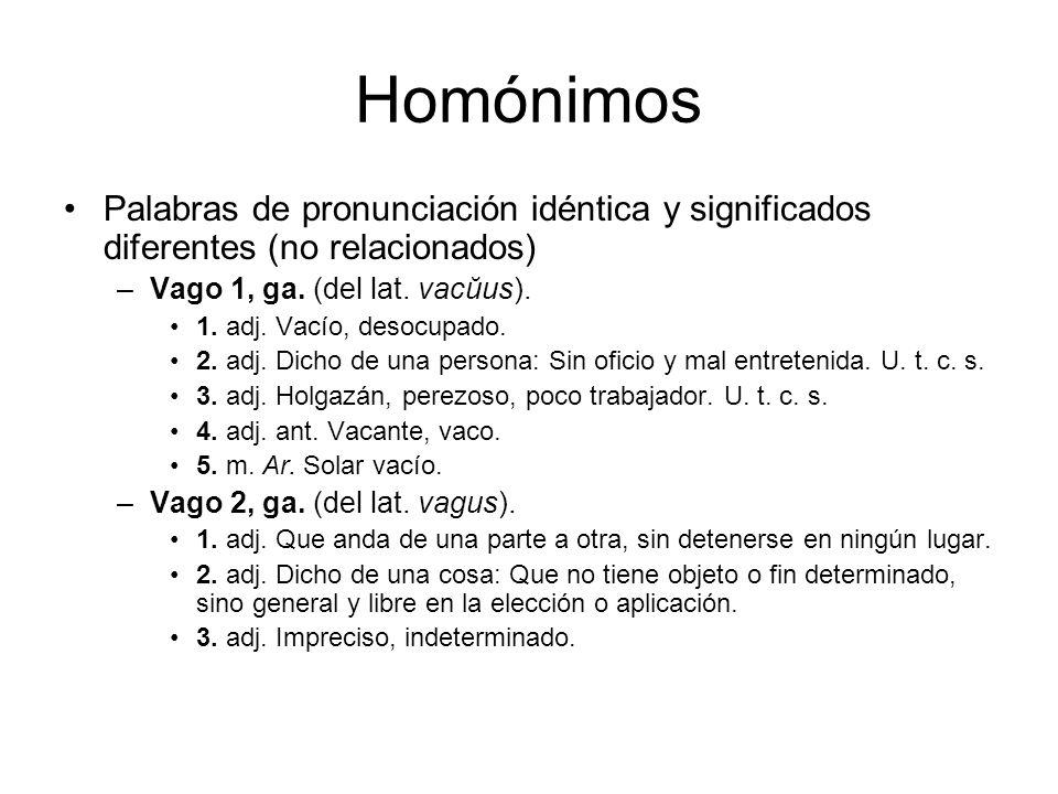 Homónimos Palabras de pronunciación idéntica y significados diferentes (no relacionados) –Vago 1, ga.