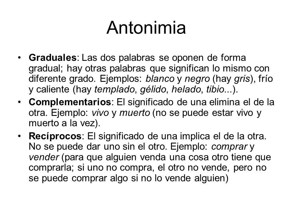 Antonimia Graduales: Las dos palabras se oponen de forma gradual; hay otras palabras que significan lo mismo con diferente grado.